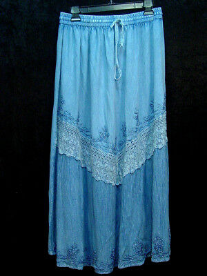 Skirt Denim blue Old West Pioneer Boho Victorian Edwardian Ren Faire one size
