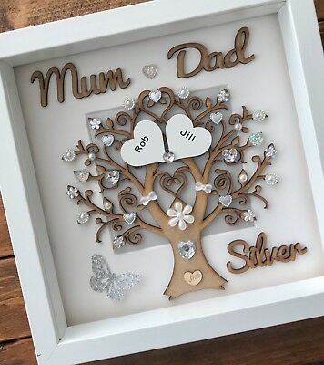 Handmade Personalised Silver 25th Wedding Anniversary Tree Gift