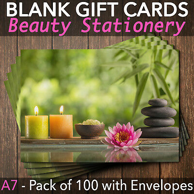 Beauty Salon Gift Voucher Blank Nail Massage Spa Hairdresser Pack of 100 + Env.