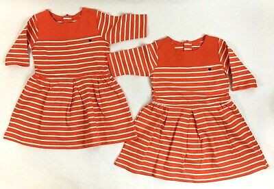 Carters TWINS Girls Size 3T Lot of 2 Orange White Striped Dress