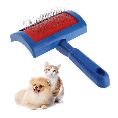 Pet Dog Cat Grooming Self Cleaning Slicker Brush Comb Shedding Tool Blue