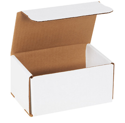 "Pick Quantity! 1-500 6x4x4"" White Corrugated Mailer Small Folding Box Light Ship"