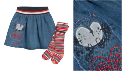 NEXT Skirt & Tights Girls 3-4 Years Set Outfit Cat Detail Denim Orange BNWT