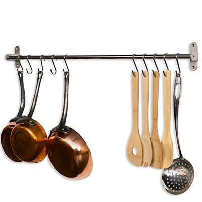 Wall Mount Rail and 10 Hooks Stainless Steel Pot Pan Lid Holder Rack 31.5 Inch