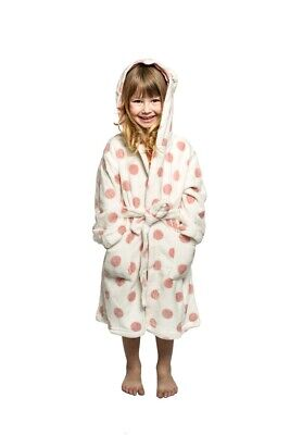 Girls PJS Size 3-7 Winter Coral Fleece Dressing Gown Robe Pink Polka Bunny (813)