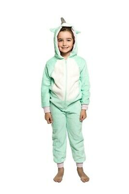 Girls PJS Size 3-7 Winter Coral Fleece One Piece Jumpsuit Mint Green Unicorn LAS