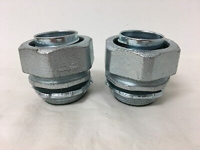 """(LOT OF 2)1-1/4"""" Malleable Iron Liquidtight Straight Insulated Connector SLT30T"""