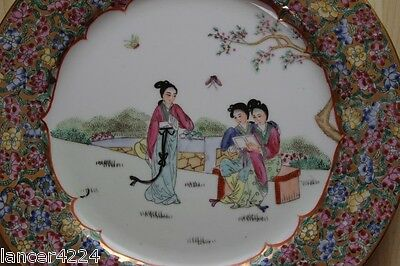 Vintage-Antique Rare Women Chinese Canton Famille Rose Export Plate
