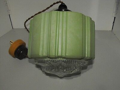 Original Art Deco Skyscraper Green Pendant Light With All Fittings Ready To Use