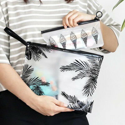 Transparent PVC Zipper Makeup Cosmetic Pouch Bag Travel Toiletry Storage Case
