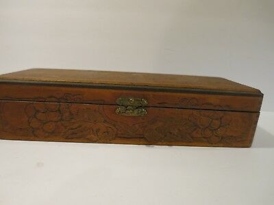 Antique  Vintage Wood Box Flemish Art Co. New York 6681