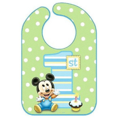 Disney  Mickey Mouse 1st Birthday Green Polka Dotted  Bib Party Accessory, Vinyl