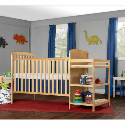 4-in-1 Baby Crib and Changing Table Combo Furniture Full Size Natural