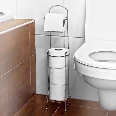 Free Standing Chrome 4 Toilet Tissue Paper Roll Holder Stand