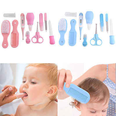 10pcs Newborn Baby Kids Nail Hair Health Care Thermometer Grooming Brush Kit HY
