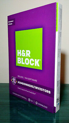 H&R BLOCK Tax Deluxe Federal + State 2017 Homeowners / Investors PC & Mac, New