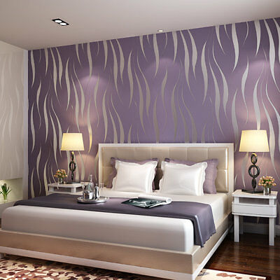 10M Home Improvement High-End Luxury 3D Wave Flocking Wallpaper Rolls New ZJ