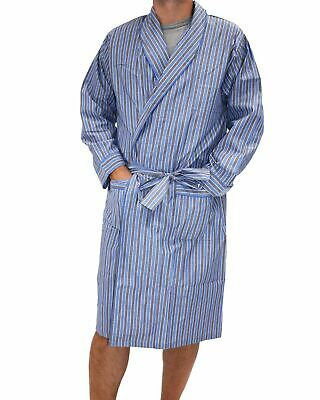 Mens S-3XL Pelaco Cotton Blend Dressing Gown Robe Blue Grey (609313)