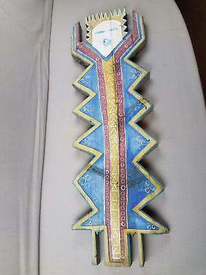 """Vtg Painted Cut Wood YEI Navajo Figurine Sign Wall Art Double Sided 38.5x12x1.5"""""""