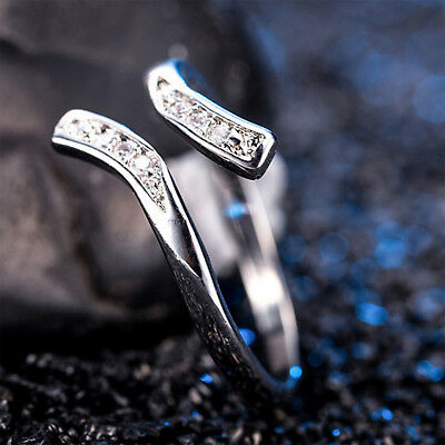 1PCS Silver Plated Adjustable Toe Finger Ring Crystal Womens Foot Jewelry YH