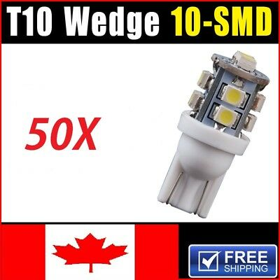 50X 2015 NEW 6000K White T10 10-SMD Interior License tag Light Bulbs 168 194 161