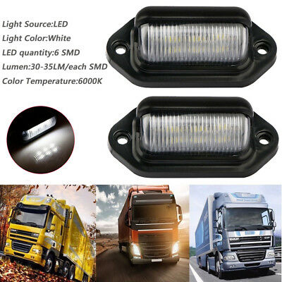 6SMD LED Rear License Number Plate Light Lamp RV Lorry Caravan Truck Trailer 12V