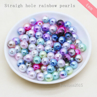 500 4mm Multi-color Round Acrylic sew on pearl spacer Hole beads jewelry making