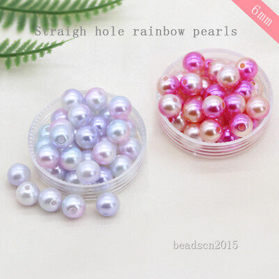 300p 6mm Round Acrylic sew on pearl spacer Hole beads jewelry making Beading DIY