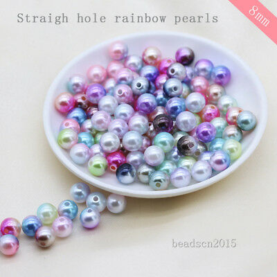 100p 8mm Ball Round sew on Acrylic pearl spacer Hole beads Beaded jewelry making