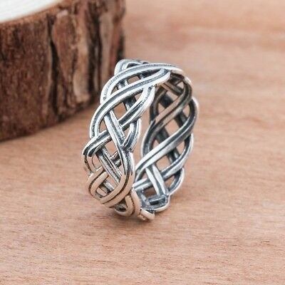 Fashion Vintage Style Women 925 Sterling Silver Celtic Knot Finger Rings #6/7/8