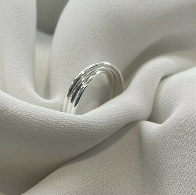 925 Sterling Silver Russian Rolling Wedding Engagement Promise ring