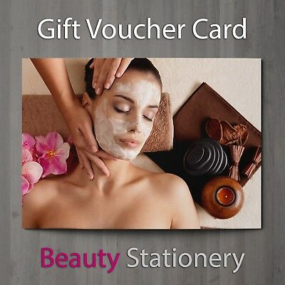 Gift Voucher Beauty Salon Blank Card Facial Nail Massage Hairdressing A7 + Env.