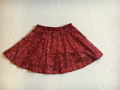 Girls Red Sequin Sparkly Lined Skirt with Elastic Waist, Size Large 10/12