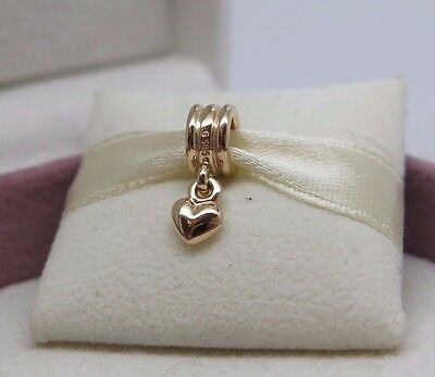 7811de7a4 New w/Hinged Box Pandora 14K 585 Solid Gold Dangle Heart Charm #750198 Love