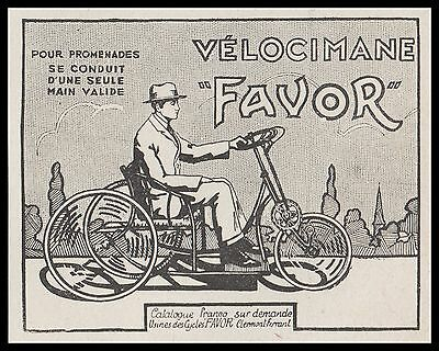 "Publicite Velo Bicyclette Cycle Velocimane "" Favor"" Tricycle   Ad  1929 -1H"