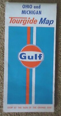 "VTG Gulf Oil Corporation OHIO & MICHIGAN Tourgide Map 1971 25""x 31"" Rand McNally"