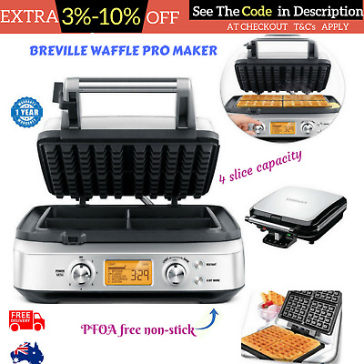 Breville Waffle Pro Maker Non Stick Machine Smart Control Breakfast Square shape