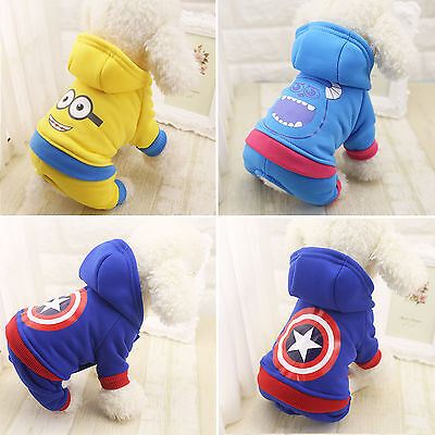 Pet Small Dog Coat Jacket Warm Thick Puppy Clothes Sweater Hoodie Hooded Apparel