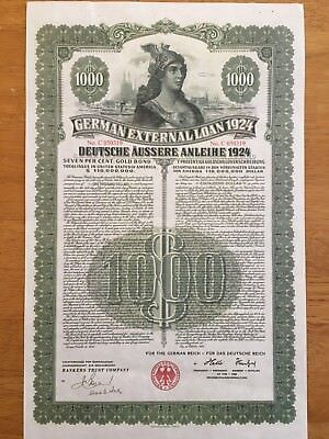 German Dawes External Loan 1924 $1000 Dollar Bond + Coupons *Duplicate*