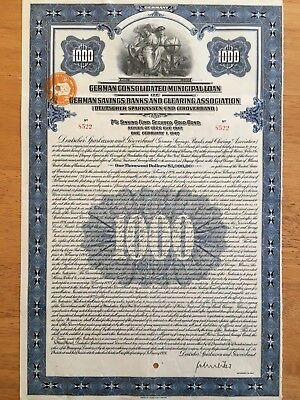 German Consolidated Municipal Gold Bond 1926 $1000 Dollar German