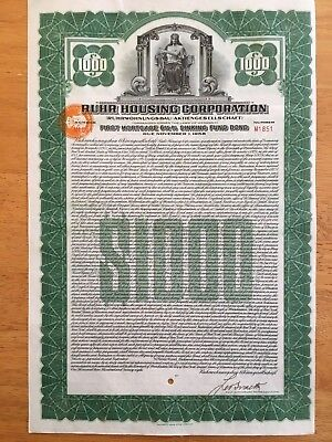 Ruhr Housing Corporation Gold Bond 1928 $1000 Dollar German