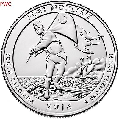 2016 Pds Fort Moultrie National Park (Nd) Three Quarters Set Uncirculated