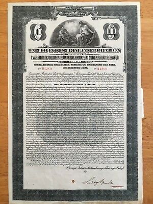 United Industrial Corporation Gold Loan 1925 $1000 Dollar Bond + Coupons German