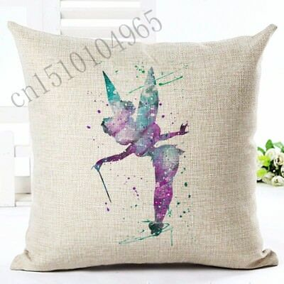 Brand New Tinkerbell Fairy Peter Pan Wendy Canvas Watercolour Cushion Cover