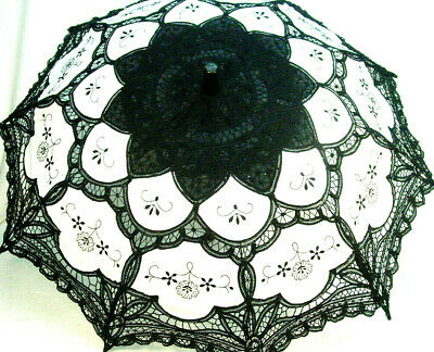 Cotton Lace Parasol Black White battenburg lace Victorian Edwardian style new