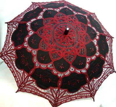 Cotton Lace Parasol Black Wine battenburg lace Victorian Edwardian vintage style