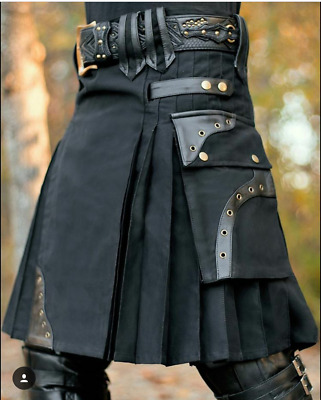 New stylish black Scottish utility kilt for men with leather loops
