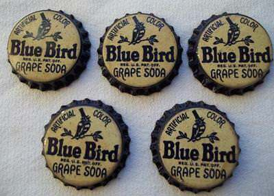 Lot Of 5 Vintage Blue Bird Grape Unused Soda Pop Bottle Caps Cork Lined