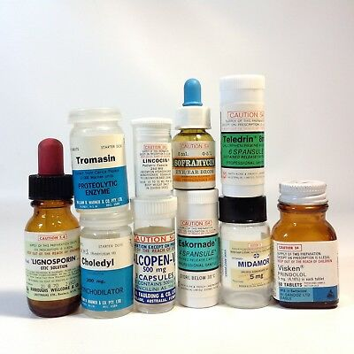 Lot of Vintage Medical Medication Pill Containers Bottles