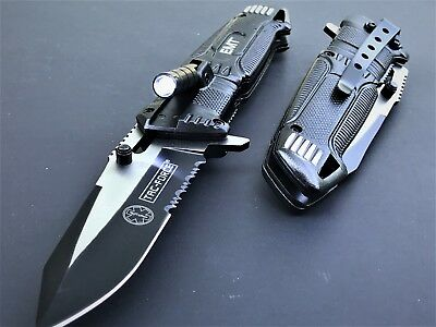 Spring Assisted Tactical LED Light EMT EMS Folding Pocket Rescue Knife Open Tac